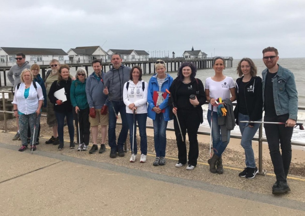 Network volunteers doing a big beach clean event.