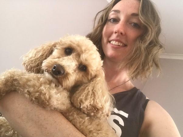 Sadie holding her dog