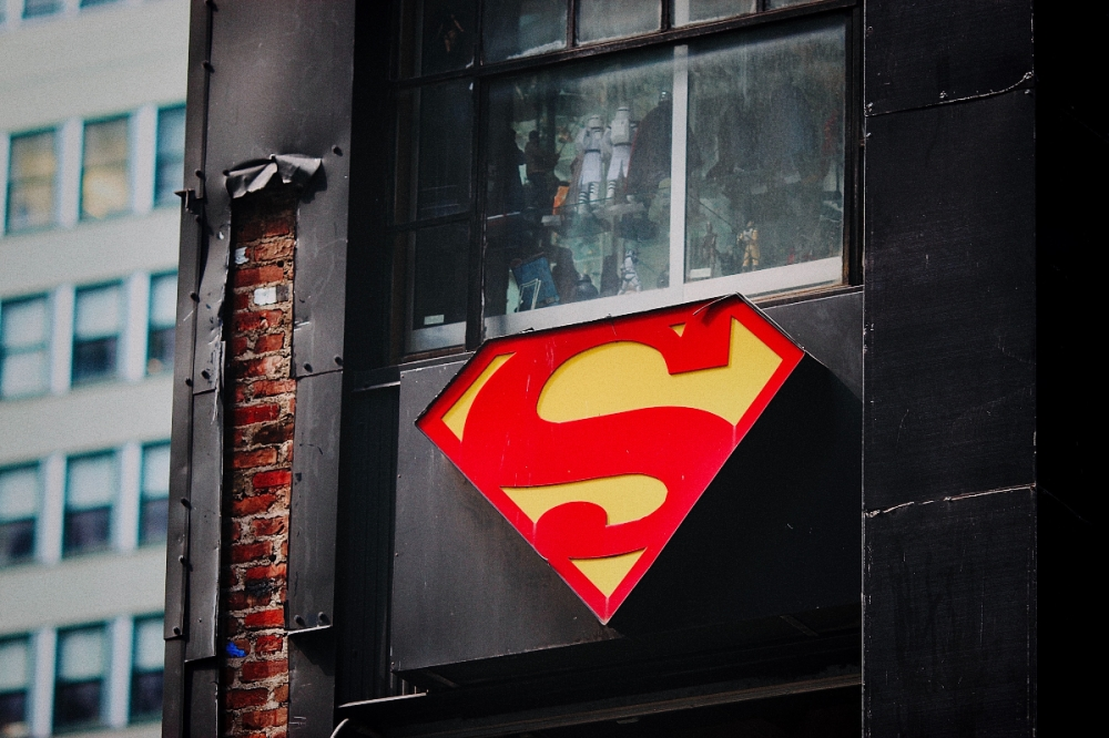 Superman symbol on the side of a building